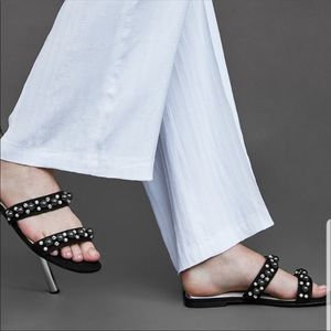 ZARA Black flat sandals with pearls straps sz 40